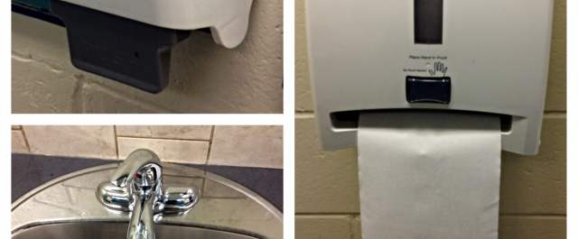 Three-in-one image of a manual soap dispenser, manual sink faucet, and automatic paper towel dispenser in a public restroom.